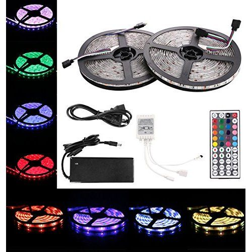 Ledwholesalers 12 Volt 16 4 Ft Rgb Color Changing Kit With Controller And Ir Remote Power Supply And Led Strip In Led Lights Cheap Led Lights Led Shop Lights