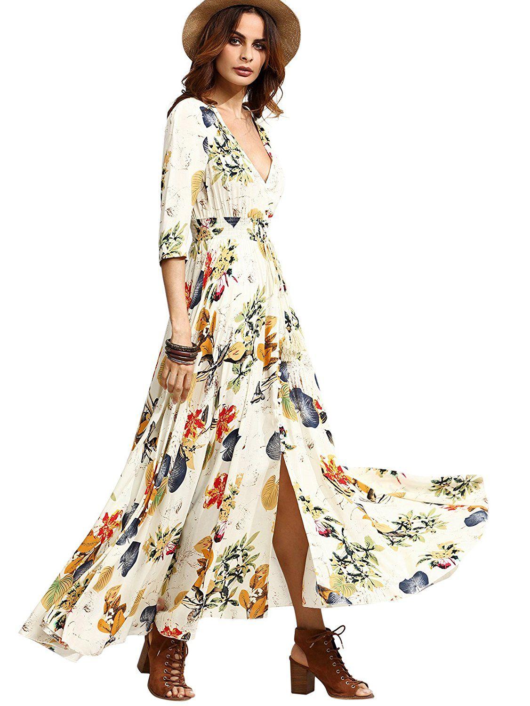 Milumia Women's Button Up Split Floral Print Flowy Party Maxi Dress