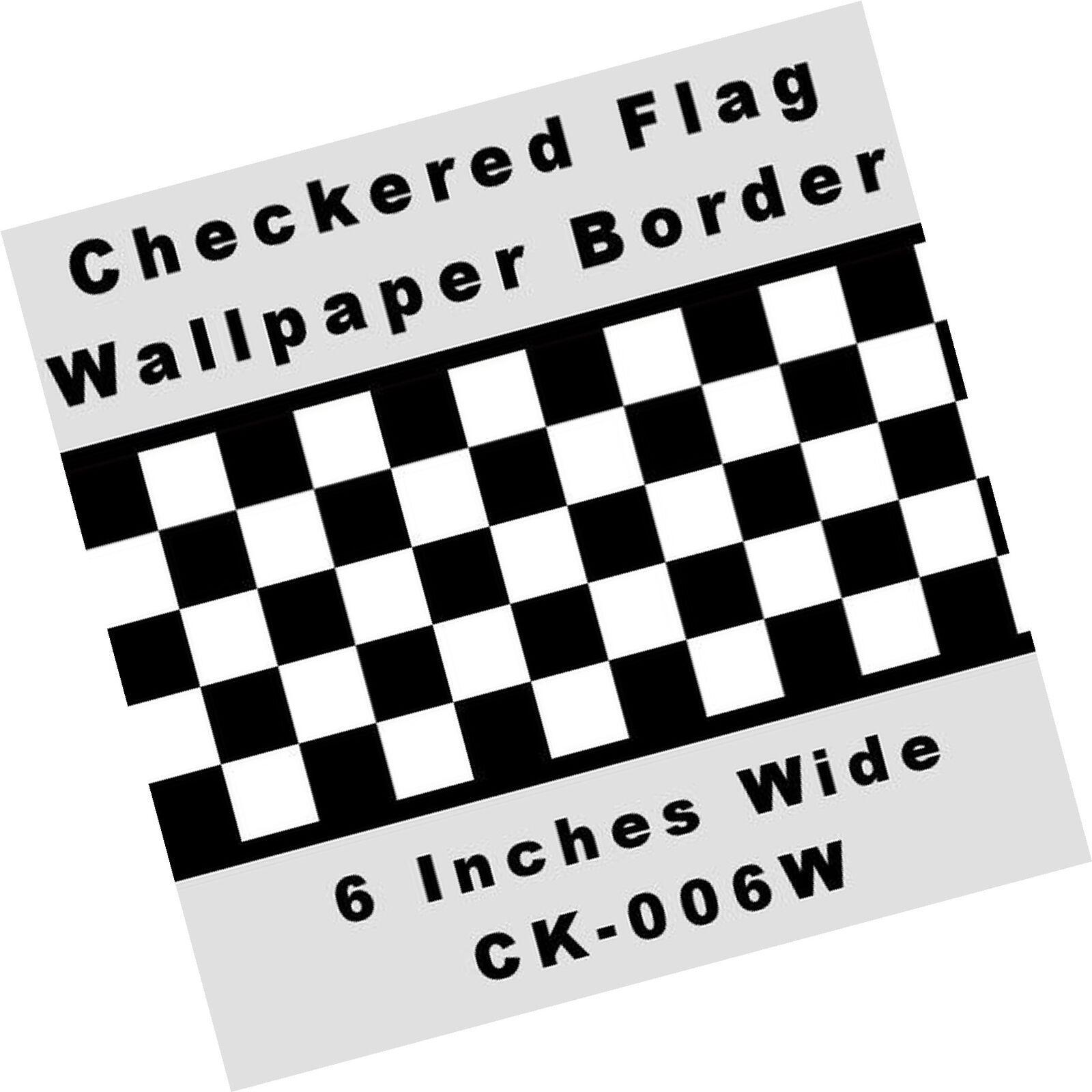 Checkered Flag Cars Nascar Wallpaper Border 6 Inch Black Edge 741360437951 Ebay Wallpaper Border Checkered Flag Checkerboard Pattern