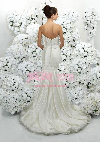 Satin/Taffeta Sweetheart Mermaid with Beading/Drape Wedding Dress
