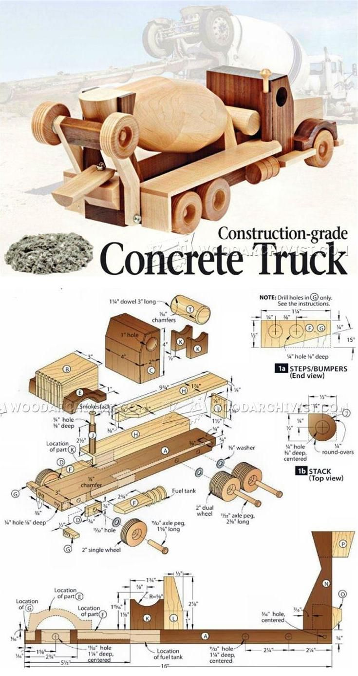 wooden concrete truck plans - wooden toy plans and projects
