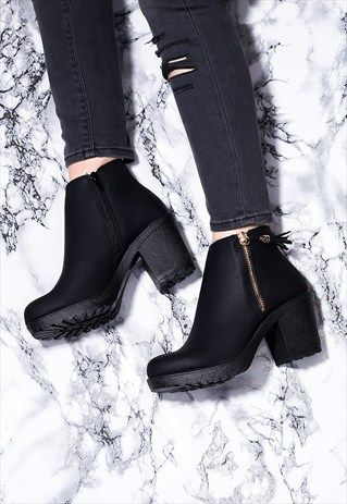 6182a0c836d BUXTON ZIP CLEATED SOLE BLOCK HEEL ANKLE BOOTS SHOES - BLACK