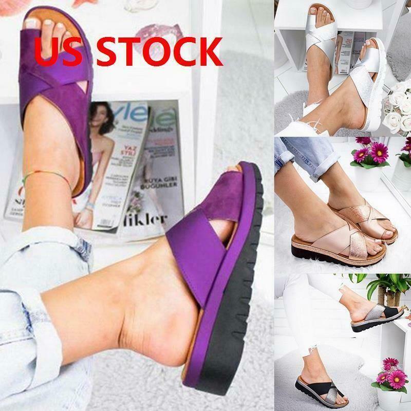 Women Comfy Platform Sandal Shoes PU LEATHER