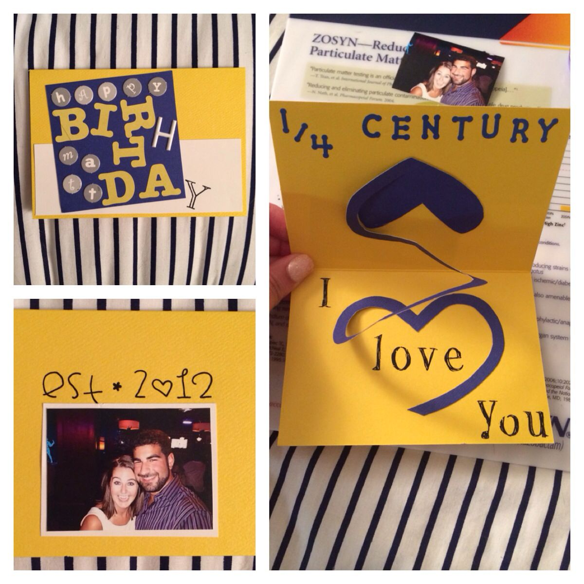 """Homemade Card I Made For My Boyfriend For His 25th Birthday This Year!! """"Quarter Of A Century"""