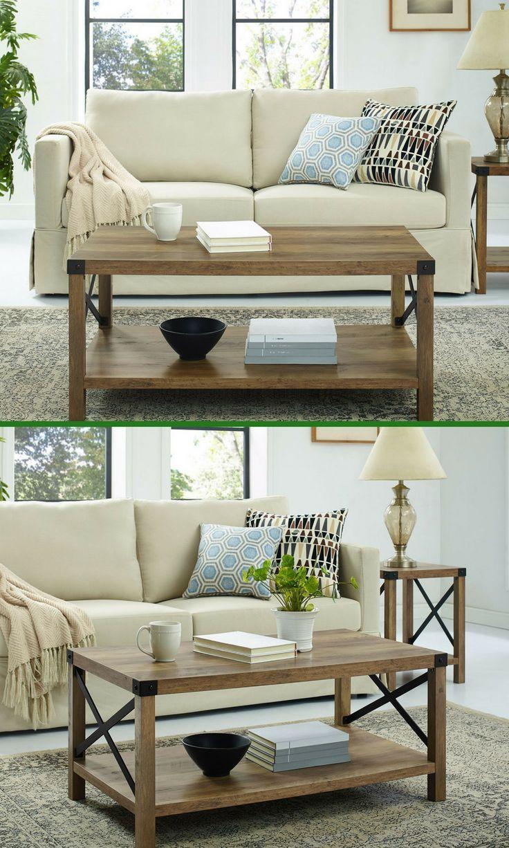 Beautiful rustic coffee table for farmhouse decor ad