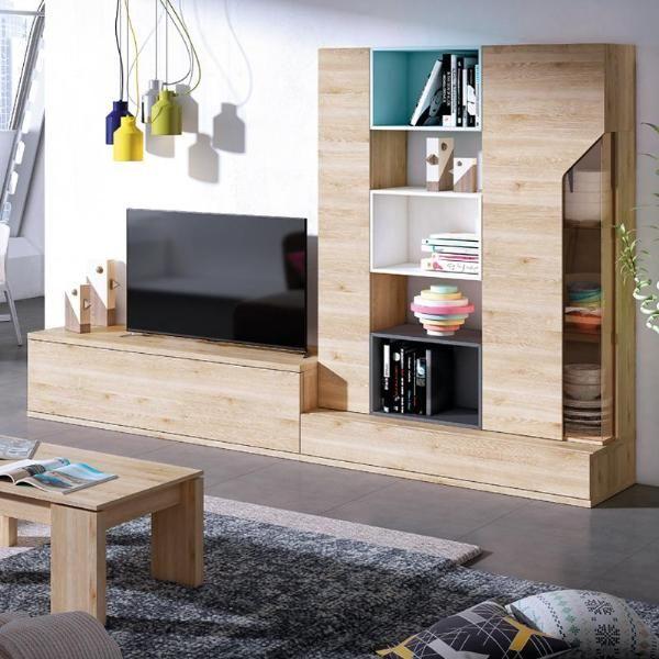 Composición para salón modelo CUBIKA TOP en color pino danés con ...