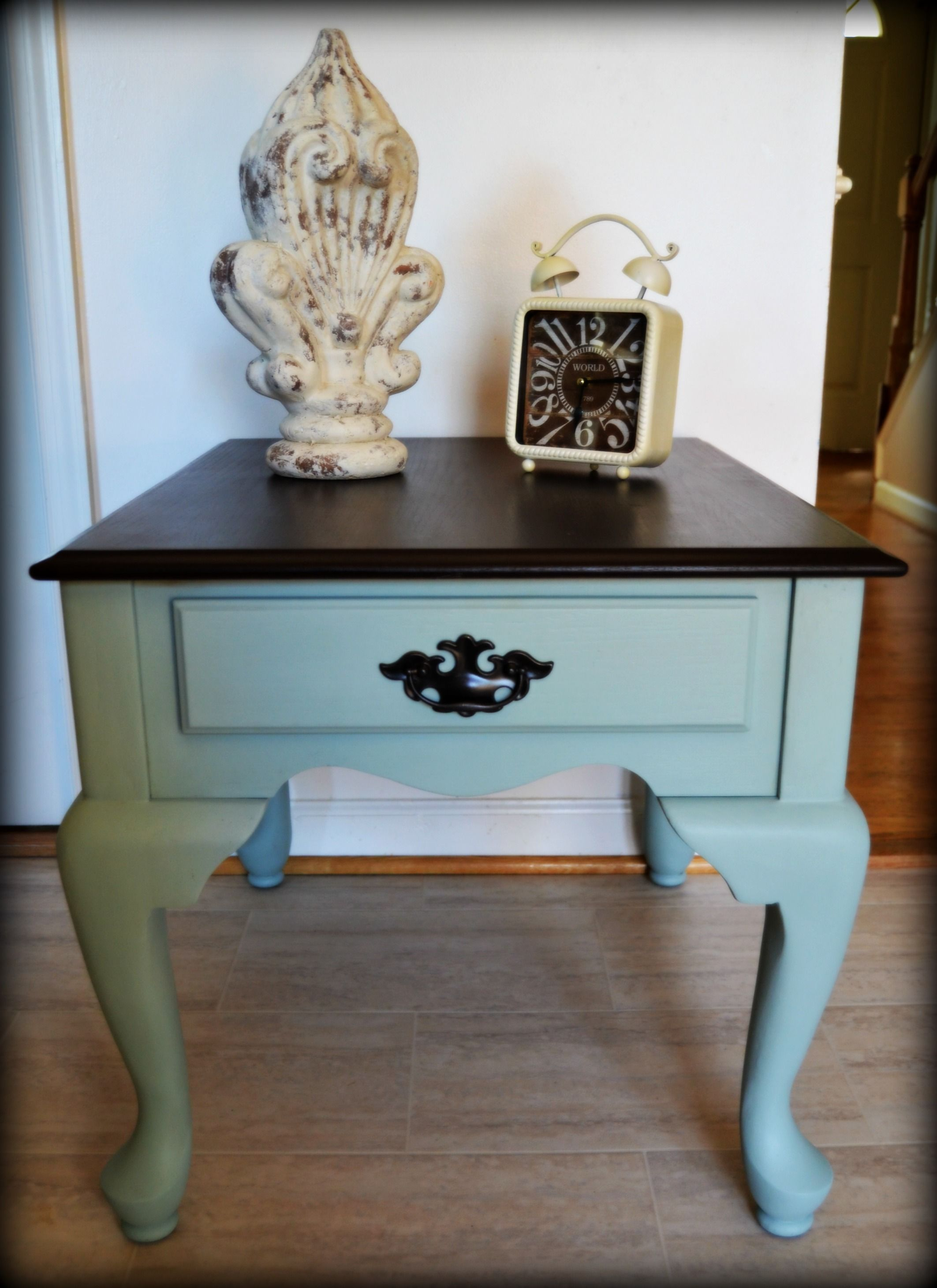 Queen Anne Table Duck Egg Blue Annie Sloan Chalk Paint Java Gel Stain  General Finishes