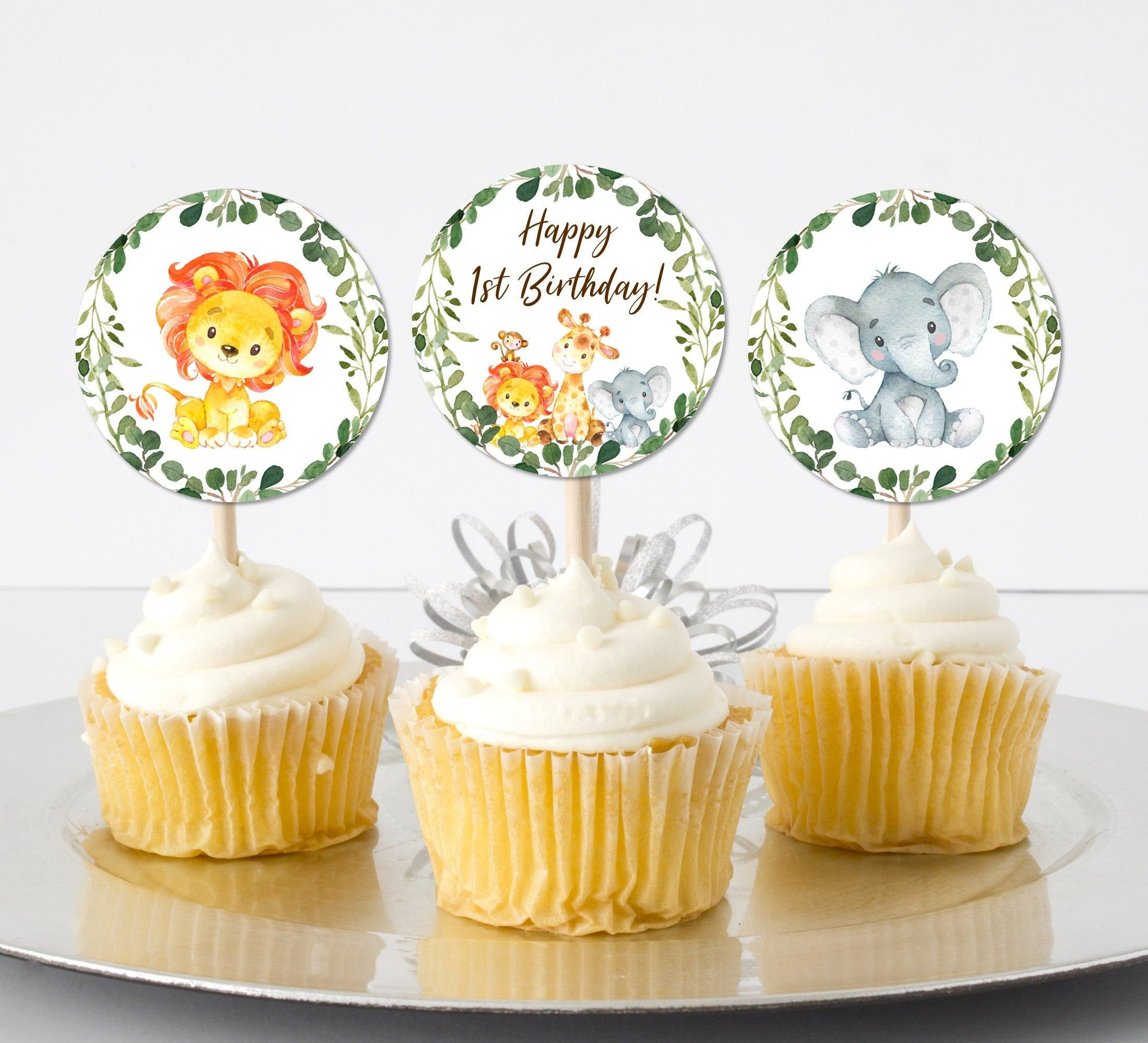 Jungle cupcake toppers safari animals cupcake toppers 1st