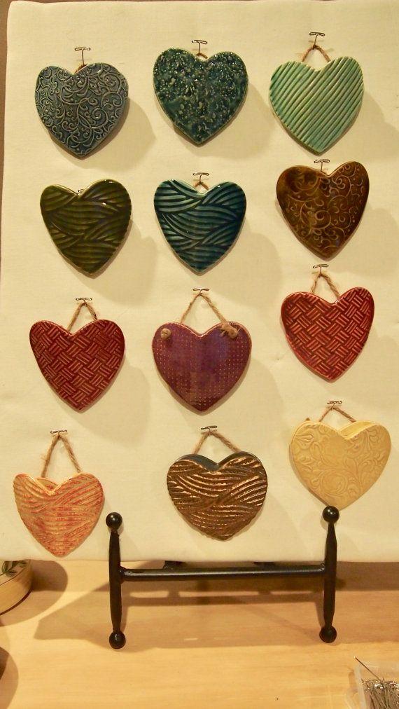 Ceramic hanging pocket hearts by jlynnepottery on Etsy