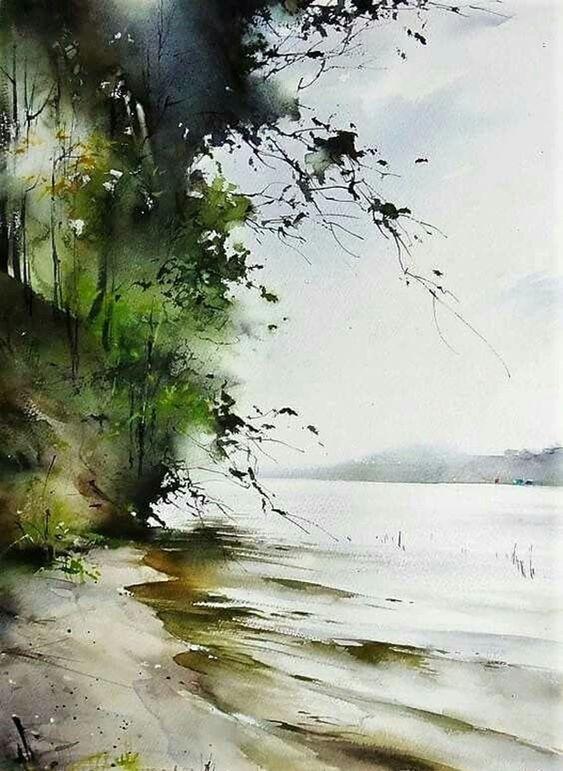 80 Simple Watercolor Painting Ideas Peinture Paysage Arbres En