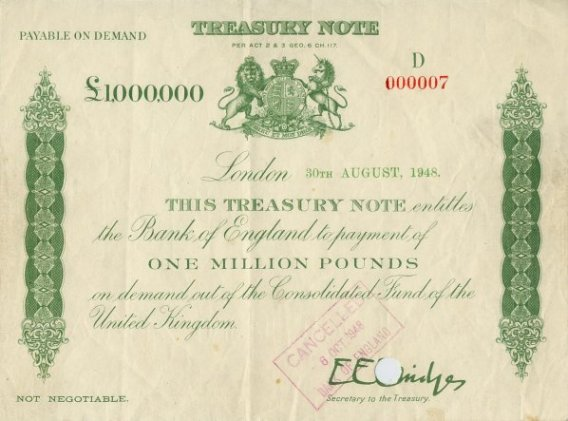 Treasury Certificate for one million Pounds 1948. Treasury