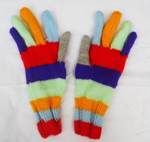 Hand-Knitted Colourful Gloves for Women. Multi-coloured Ladies' Striped Knitted Gloves. Warm Winter Accessory. Present for Teenage Girl.