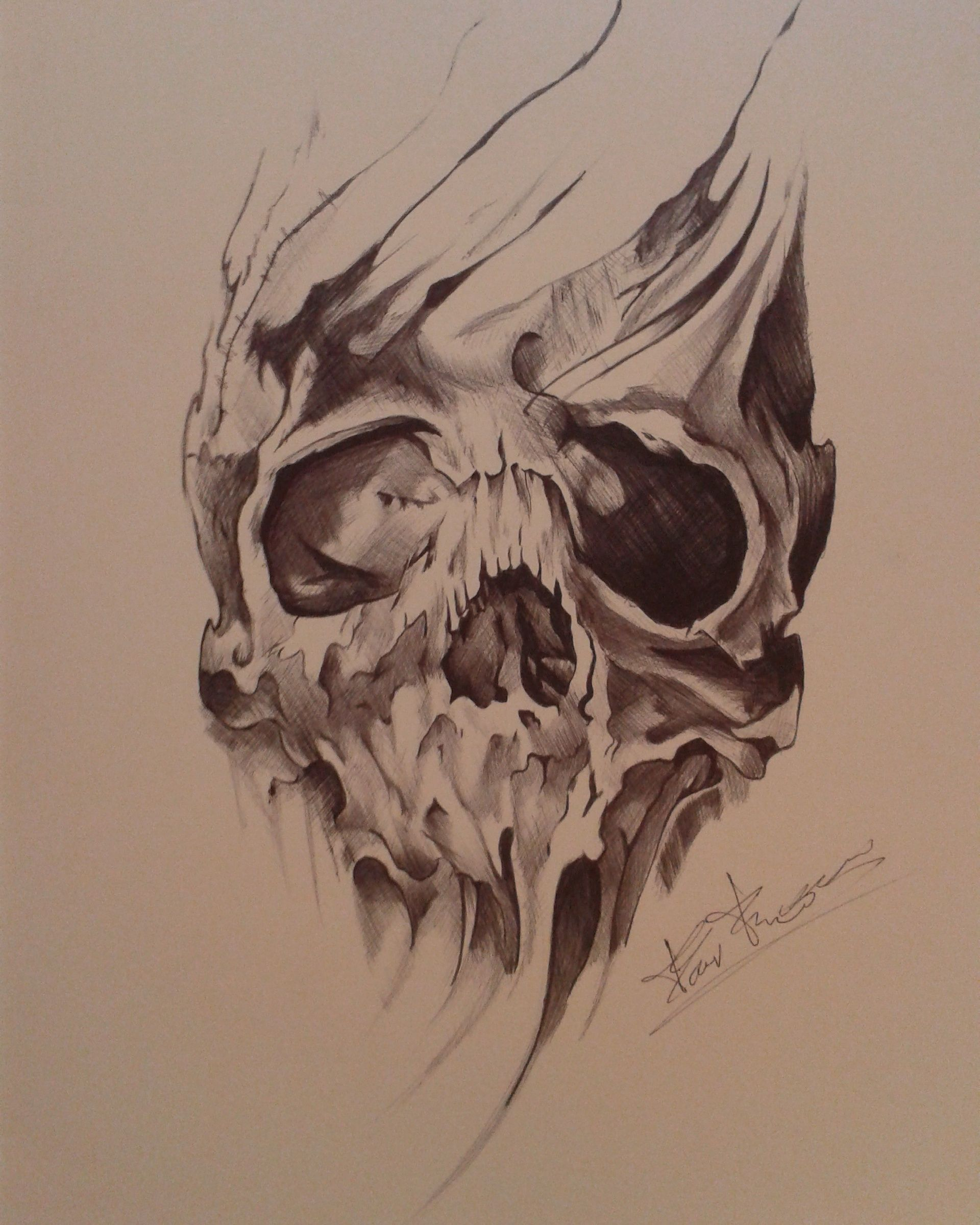 Bic black pen drawing of a skull (FAN ART) | My drawings | Pinterest ...