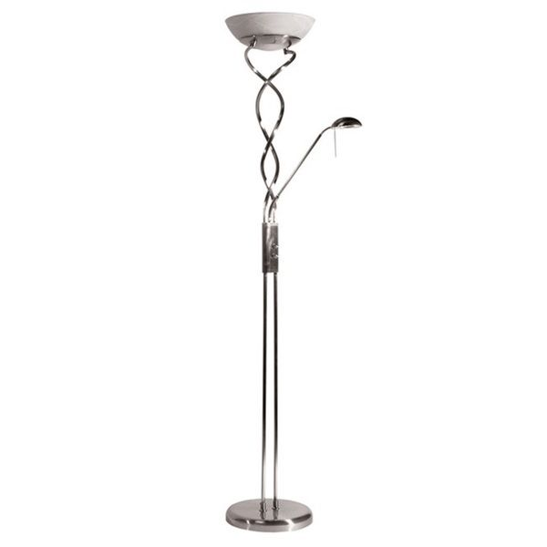Twist torchiere 3 light satin chrome floor lamp with reading light floor lamps for less mozeypictures Choice Image