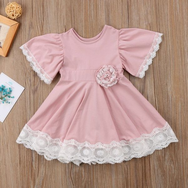 dd2c29a4a Wish | Fshion Casual Kids Baby Girl Dress Lace Floral Party Dress Pageant  Wedding Bridesmaid Dresses Formal Gown
