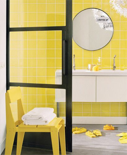Yellow Bathroom Tile: Bright Color Tile In Bathrooms