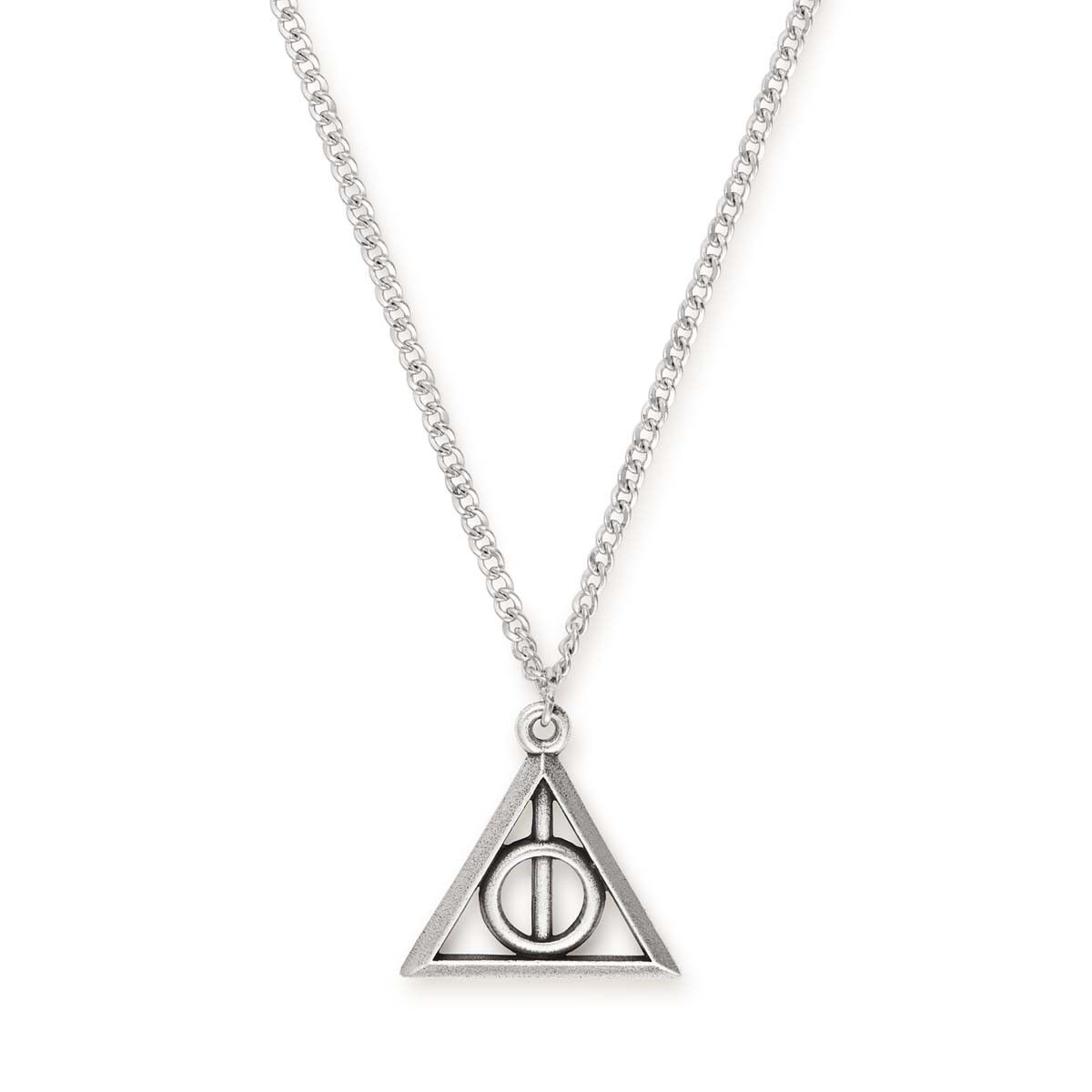 Harry potter deathly hallows necklace deathly hallows symbol this necklace in a silver or gold finish features the deathly hallows symbol from the harry biocorpaavc Images