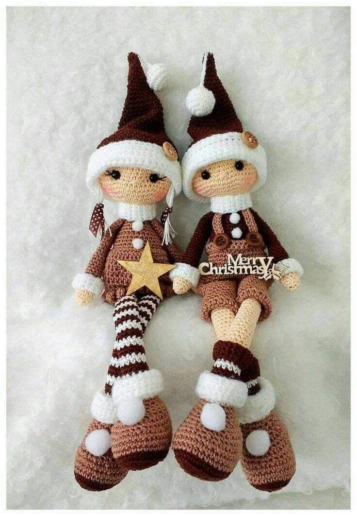 Bambole natalizie | Modelli natalizi all'uncinetto, Bambole fatte