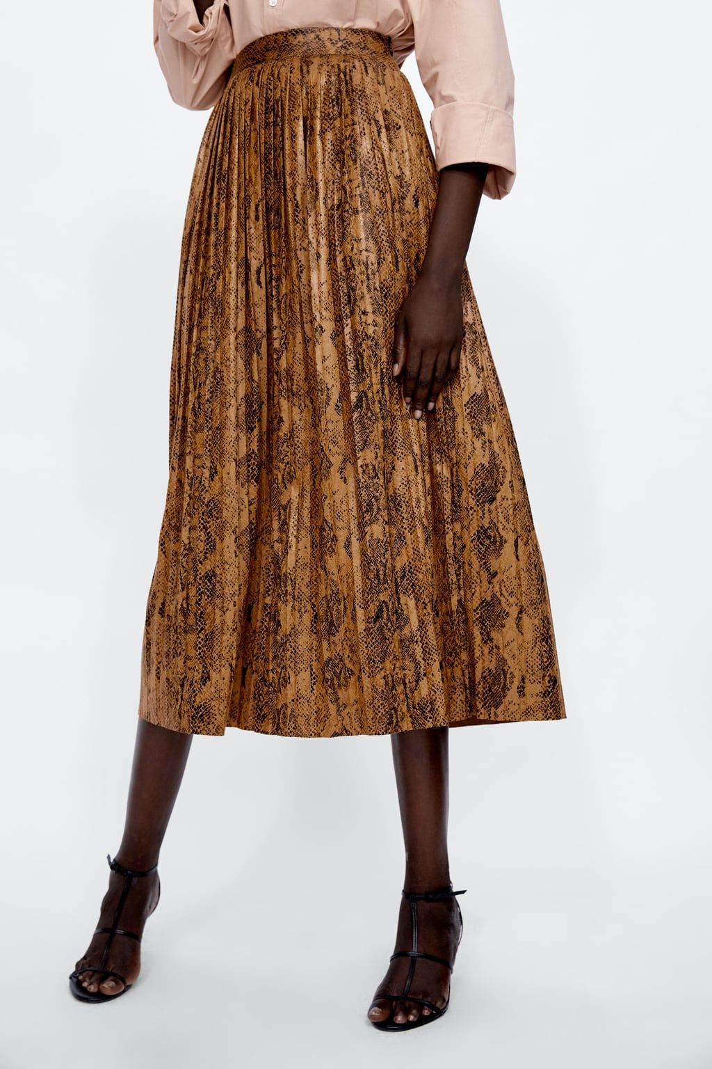 9b51f326a9f5 Image 1 of SNAKESKIN PRINT PLEATED MIDI SKIRT from Zara School Dresses