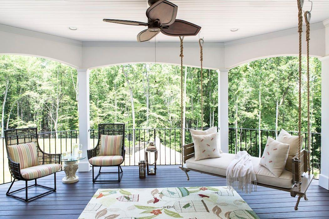 Riverside Retreat Sun Porch Patios Decks By Lorna Gross Interior Design Balcony Design House Design Patio Furniture Cushions