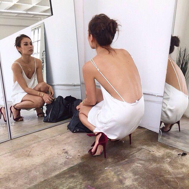 a9ee14e984a1e Backless slip dress with pulled up hair. | Minimalism | Fashion ...