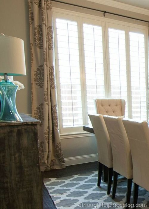 Make Statements In 2020 Dining Room Windows Dining Room Curtains Shutters With Curtains