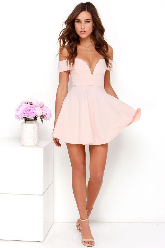 afedf9457502 Sensational Anthem Off-the-Shoulder Light Pink Dress at Lulus.com!