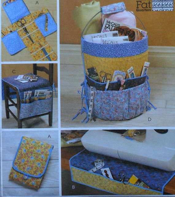 Sewers Organizers Sewing Pattern UNCUT McCalls 4274 bucket chair seat sewing machine organizer