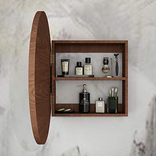 Admir Round Mirror Bathroom Cabinet Wall Storage Shelves Mirror Cabinet Bath Wood Medicine Cabine In 2020 Round Mirror Bathroom Mirror Cabinets Wood Medicine Cabinets