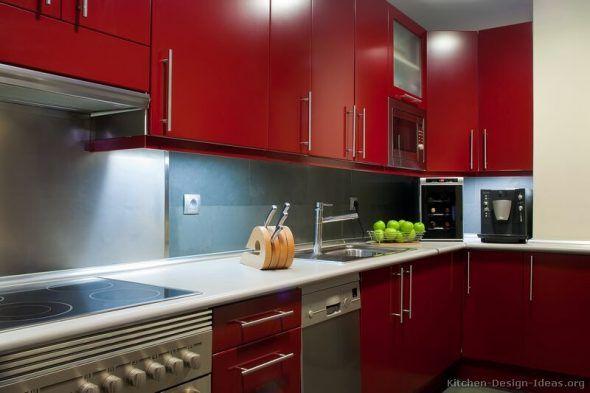 Décoration Cuisine Rouge pour une Cuisine ultra Tendance Pinterest - Photo Cuisine Rouge Et Grise