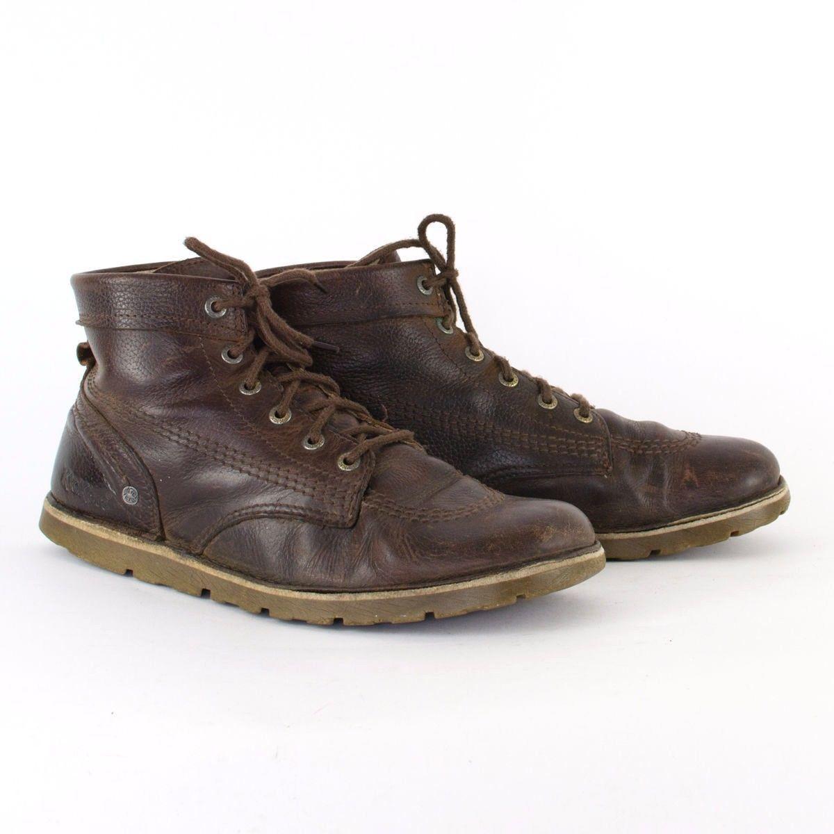 Vintage 1990s 90s Mens Brown Leather