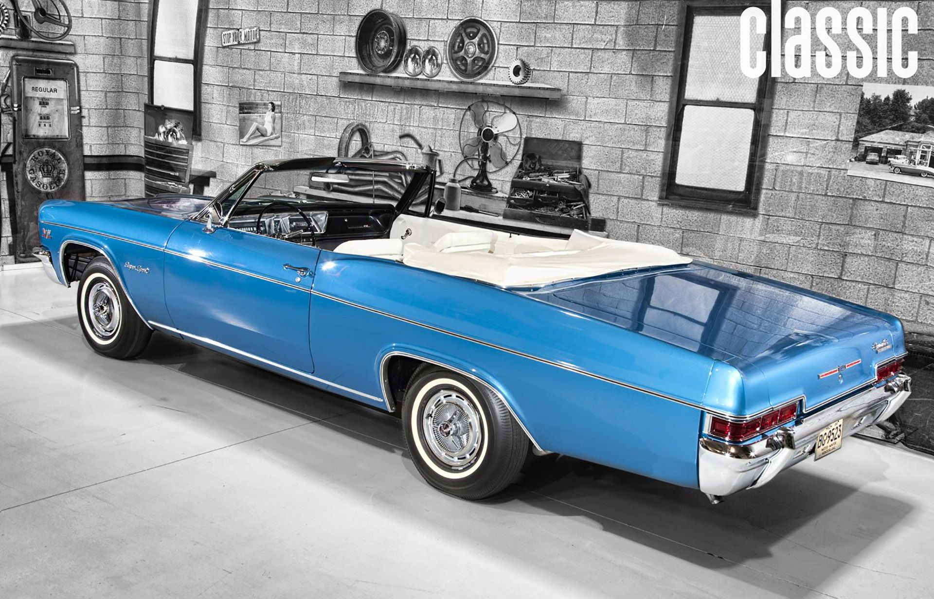 1966 Blue Chevy Impala Ss Convertible Hd Wallpaper Pictures Chevrolet Bel Air Value