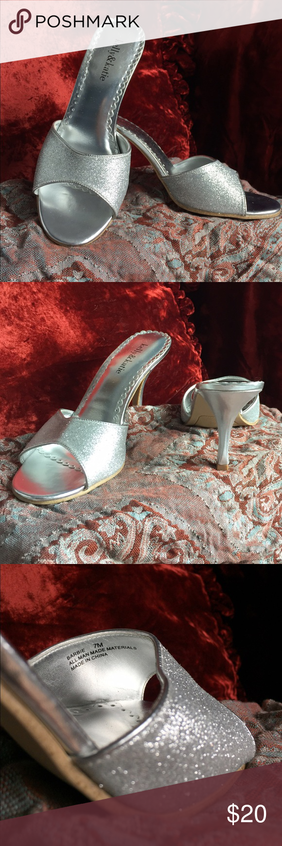 Kelly and Katie glitter Barbie kitten heel sandal These silver glitter peep toes have never been worn. Perfect heel height, can be a dressy sandal for a day at the resort or the perfect shoe for an evening out. Kelly and Katie, Barbie 7M Kelly & Katie Shoes Heels