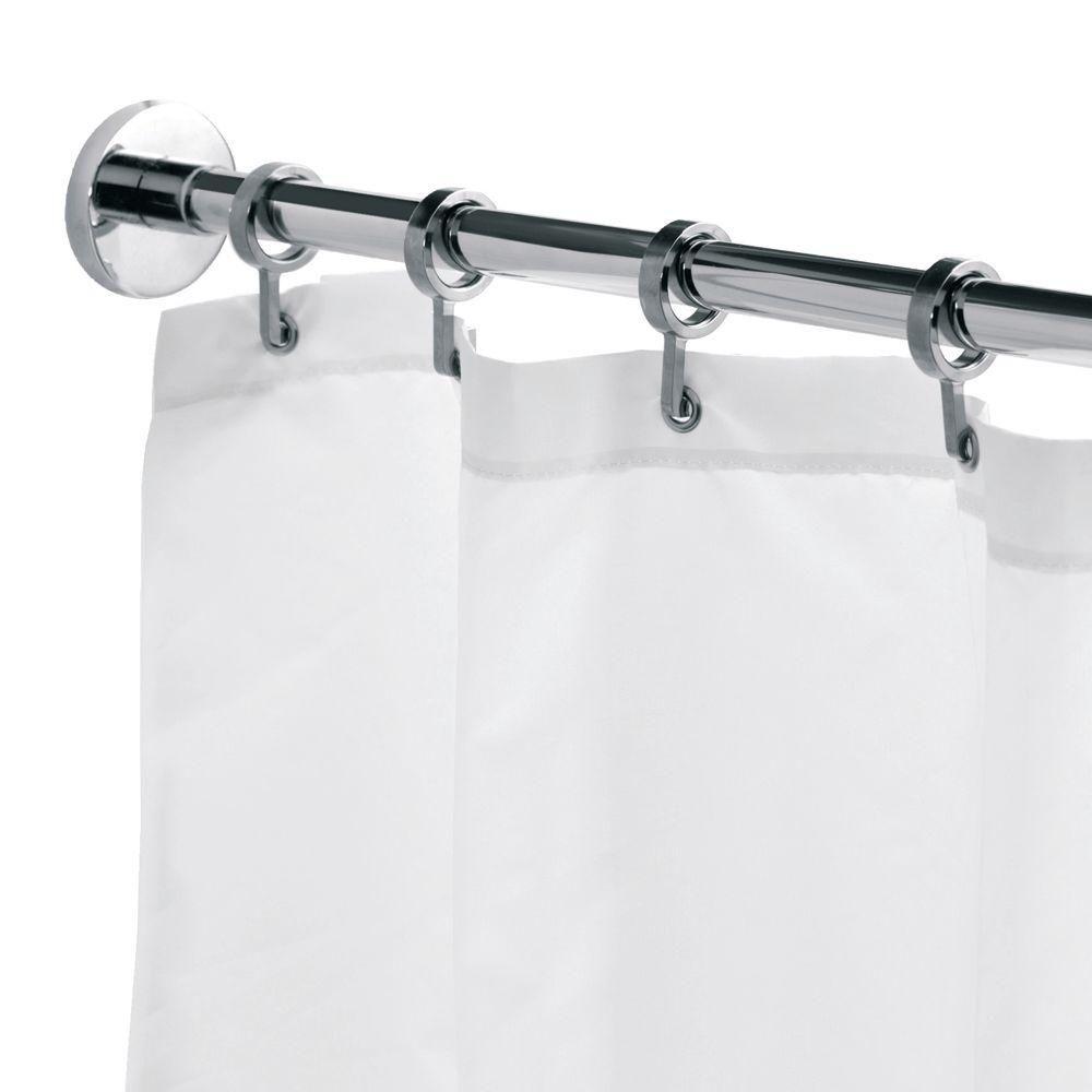 Croydex Round 98 4 In L Luxury Shower Curtain Rod With Curtain Hooks In Chrome Grey Luxury Shower Shower Curtain Rods Round Shower Curtain Rod