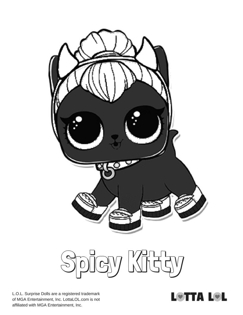 Spicy Kitty Coloring Page Lotta Lol Lol Surprise Series 3 Pets