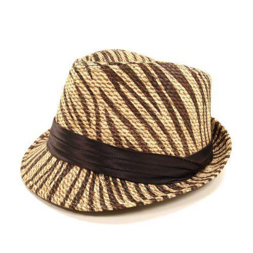 c3a37cb1d Dark Brown Zebra Print Ribbon Band Fedora Straw Hat | Bright Buy ...