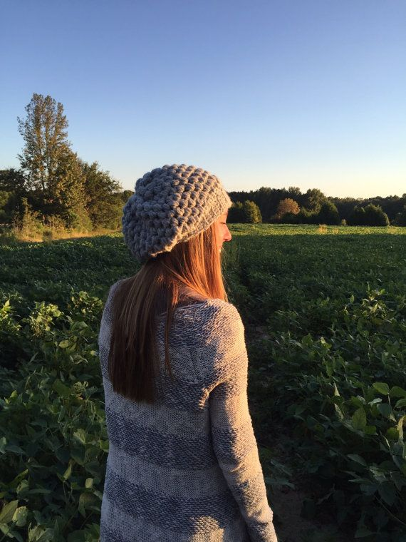 Modern chunky handmade crochet/knit slouch by lifeissewbeautiful