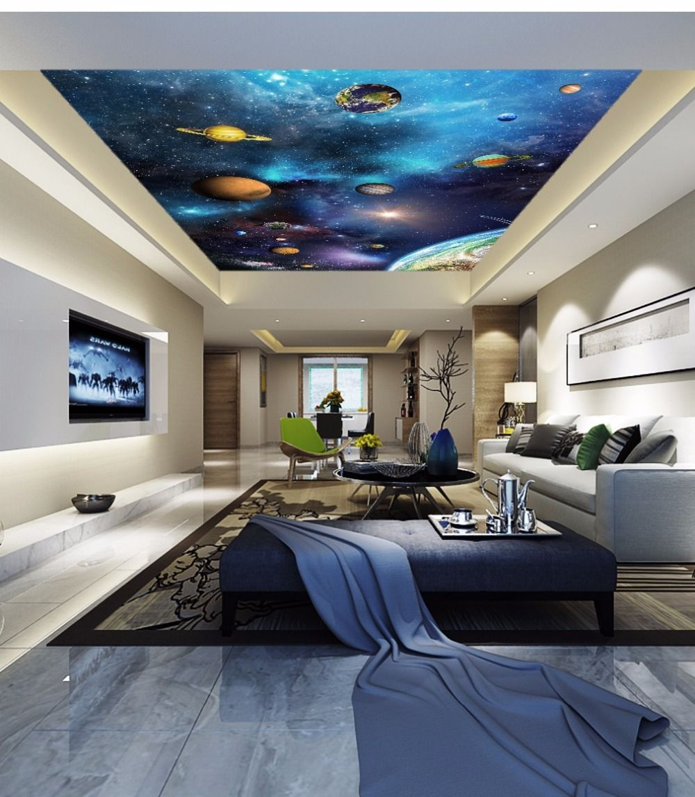 Customized Large Wallpapers 3d Beautiful Gorgeous Starry Planet Living Room Bedroom Basement Movie Room Bedroom Ceiling