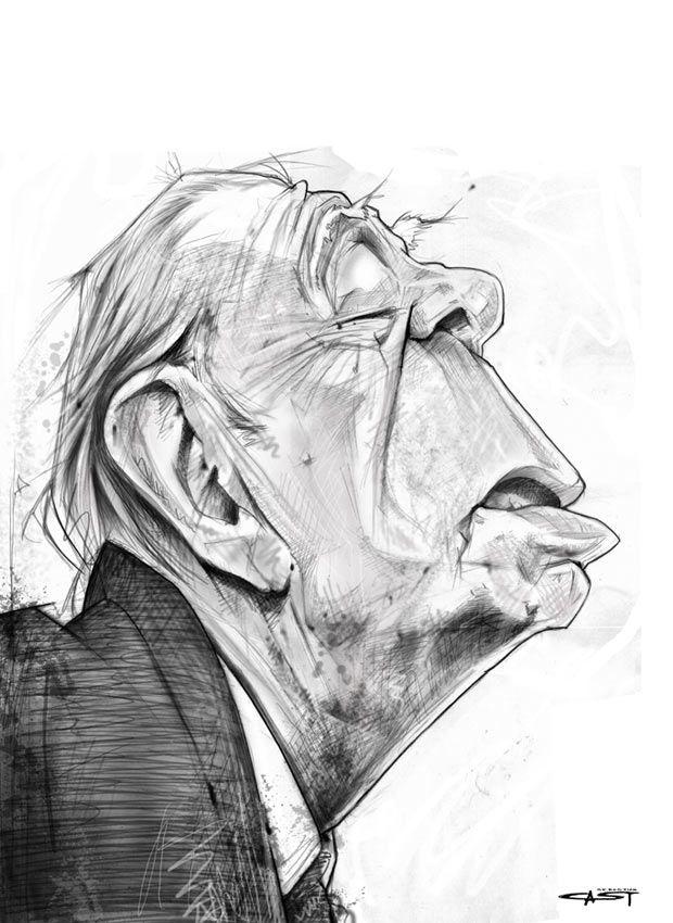 Sebastian Cast Dibujante Borges Gente De Historieta Anciano Dibujo Caricaturas A Lapiz