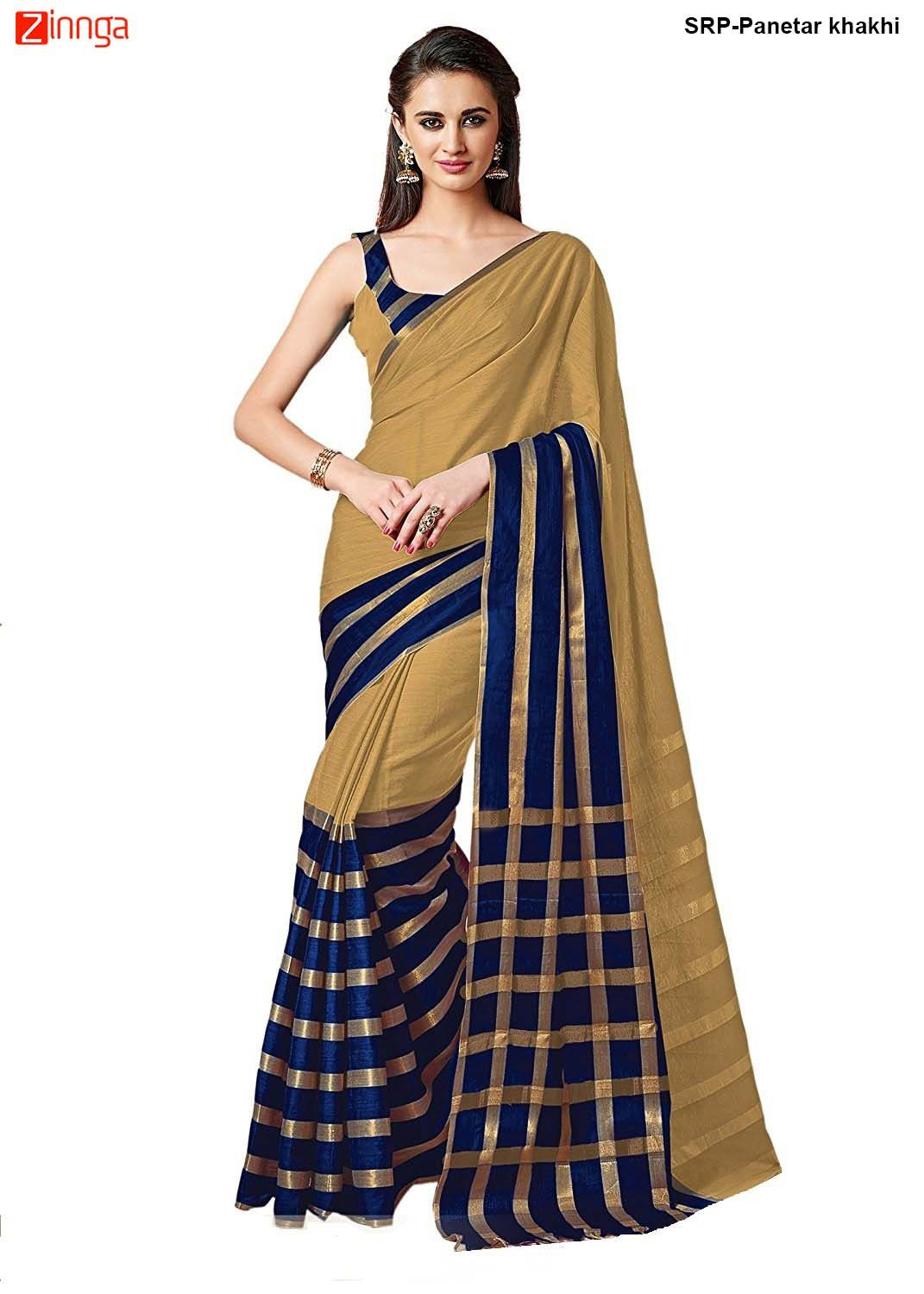 6d6f819a3f Beige and Blue Color Cotton Saree With Blouse #Fashion #Trending #Nice  #Popular #Collection #New #Looking #Fashionable #New #Look #Zinngafashion