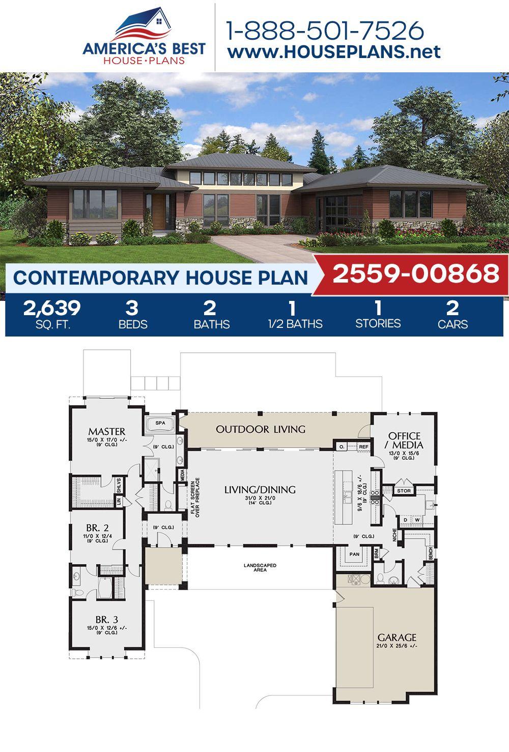 House Plan 2559 00868 Contemporary Plan 2 639 Square Feet 3 Bedrooms 2 5 Bathrooms In 2020 Contemporary House Plans House Plans Dream House Plans