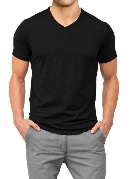 black heavyweight muscle fit t shirt vee neck | Mens black