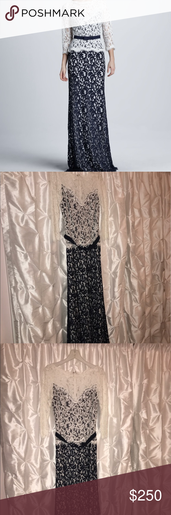 Tadashi Shoji two-toned lace gown This timeless Tadashi Shoji two-toned gown is perfect for any formal affair. It has a white lace long sleeved top and a navy blue base and bottom. Stunning. Size 6. Worn once. Tadashi Shoji Dresses Long Sleeve