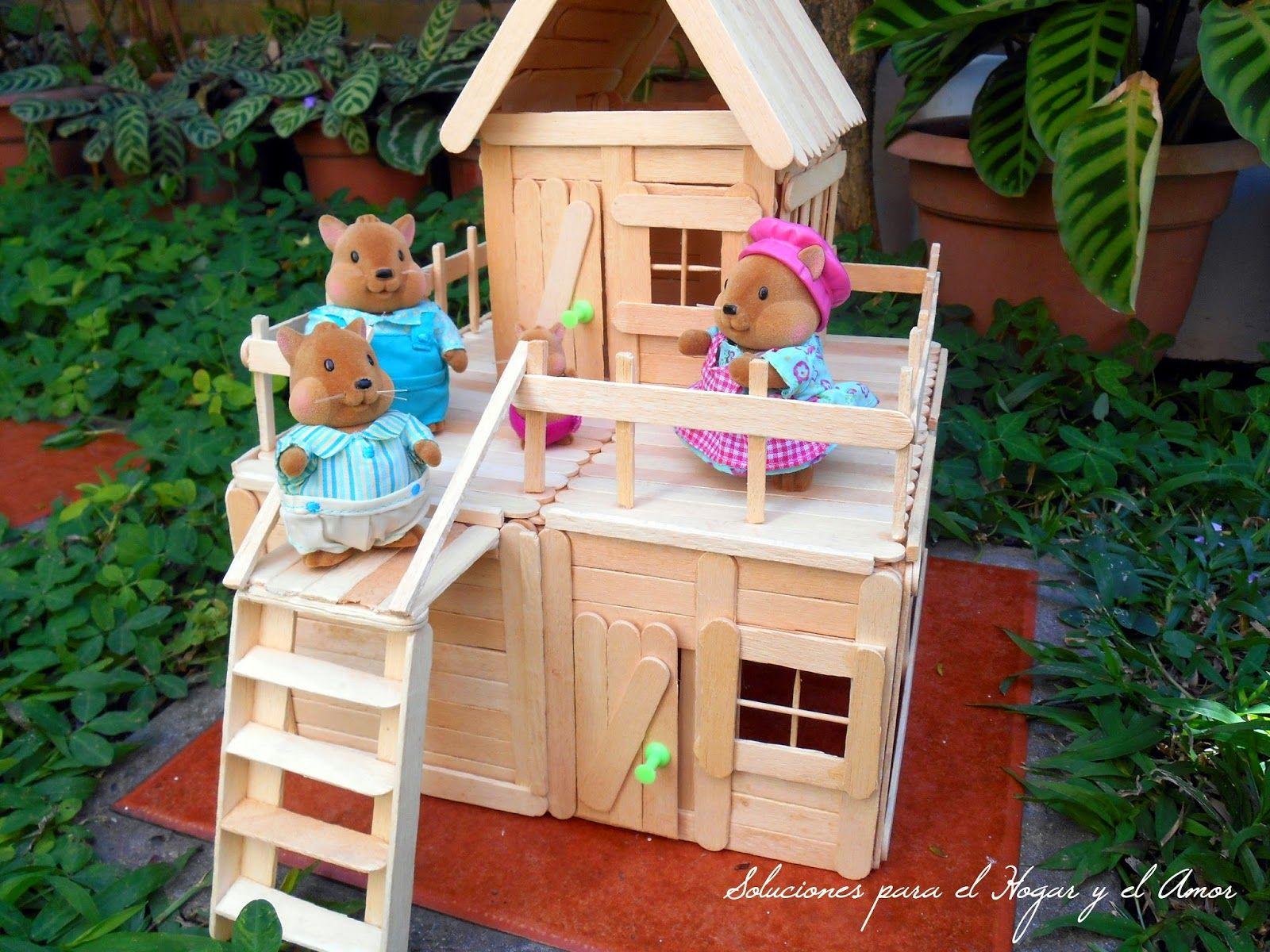 Diy Casa De Dos Pisos Hecha Con Palitos De Helados Popsicle House  # Muebles Tina Calamocha