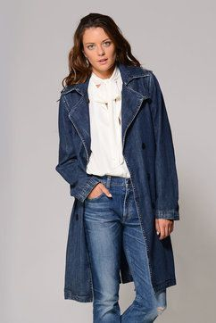Blank Salty Denim Trench Coat in DENIM