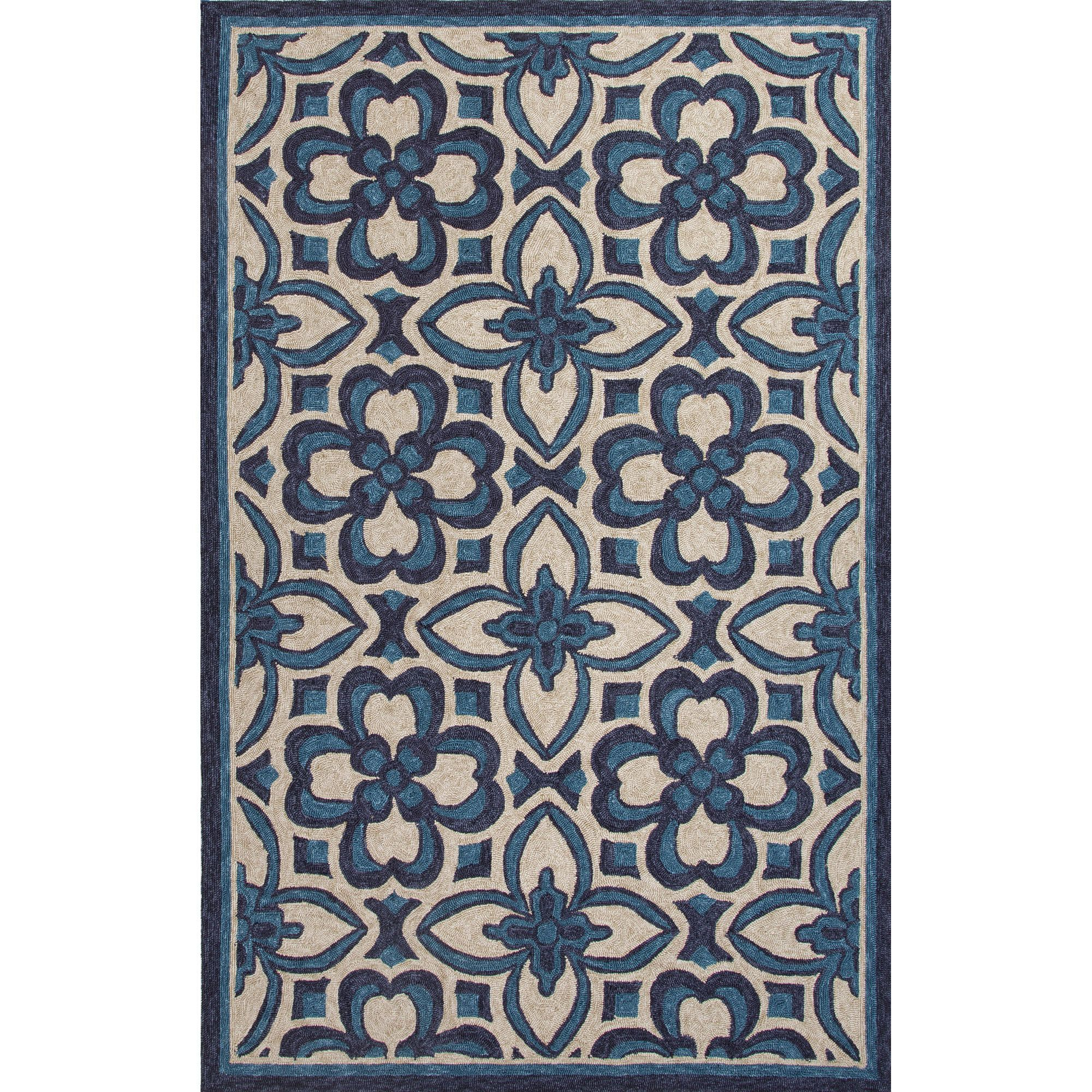 Jaipur Rugs IndoorOutdoor Moroccan Pattern Blue/Ivory Polyester Area Rug CAT11 (Rectangle)