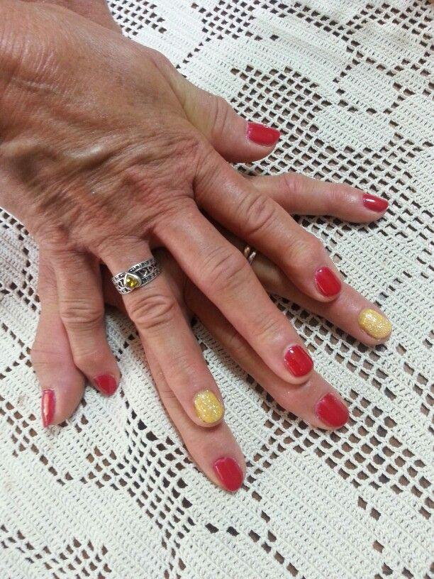 Unghie#semipermanente#rosso&giallo brillantini#argento#Lucia#