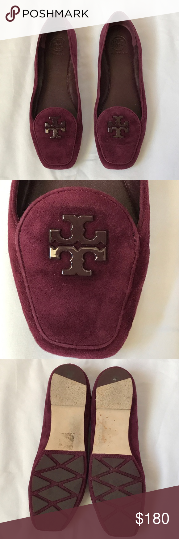 0ba7955fe5698e Tory Burch Fitz loafers Sophisticated Tory Burch kid suede loafers. Square  toed. Logo. Port color. Only worn for few hours! Practically brand new!