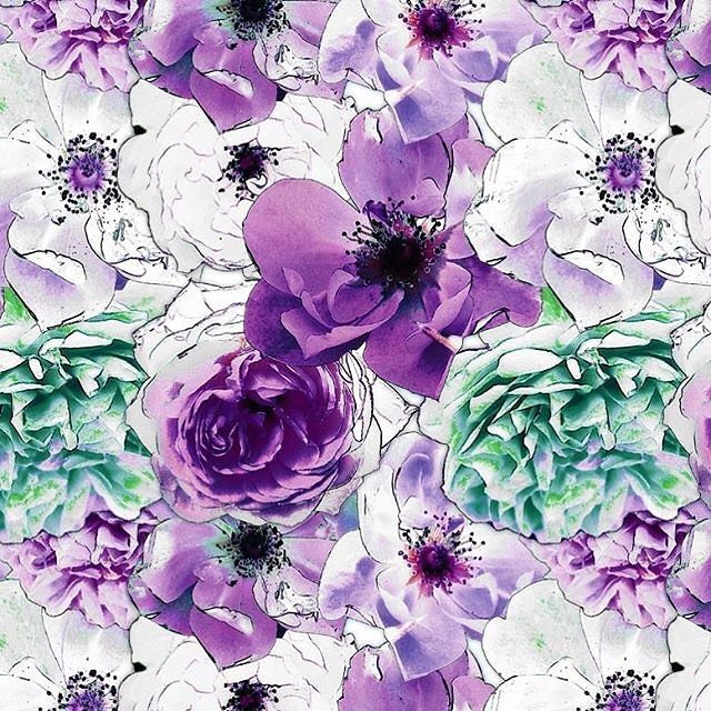 Purple Rose Garden – Seamless Repeat available @patternbank #fabric #activewear #sportswear #swimwear #patternbank #yoga #textiledesign #fashion #surfwear #designstudio #resortwear #pattern #roses #textiles #textiles IG: @beccy_bland