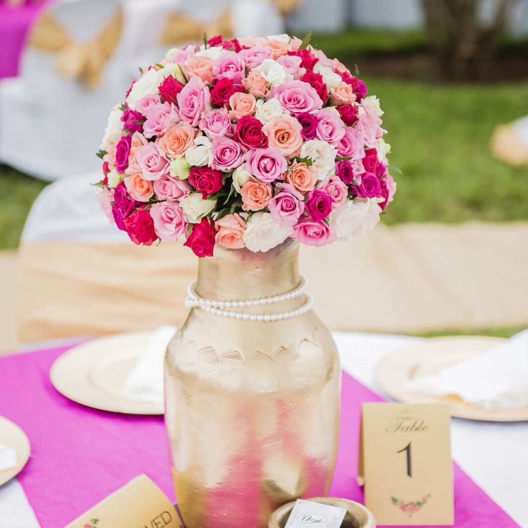 Traditional wedding or kitchen party idea. Gold painted clay pot